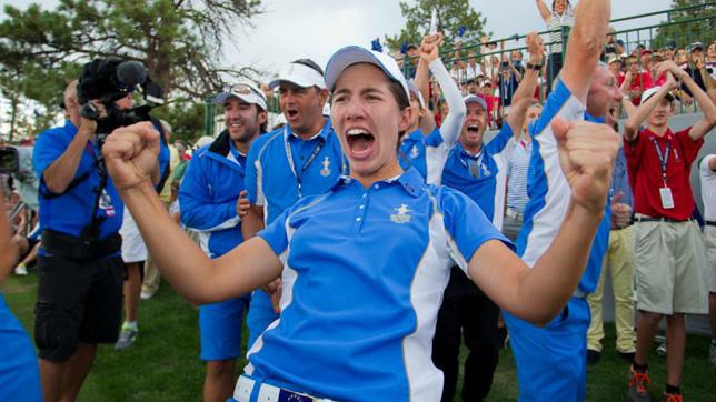 Carlota Ciganda celebrates the triumph of Europe in the 2013 Solheim Cup the last european triumph