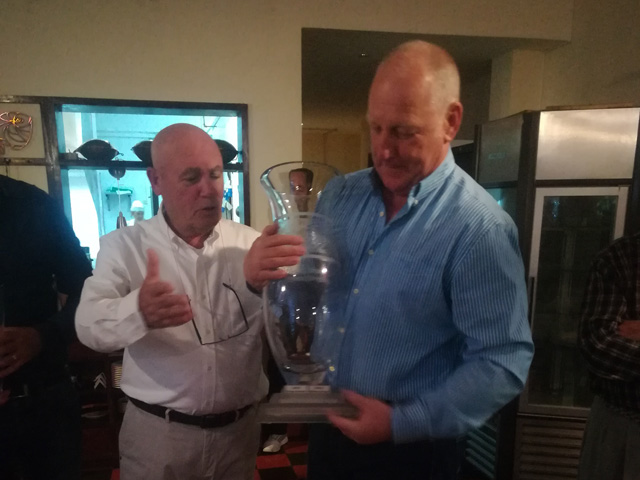 Tee Times Golf Agency Prestige Tournament 2018 - Photo Mike Keyworth with the Cup
