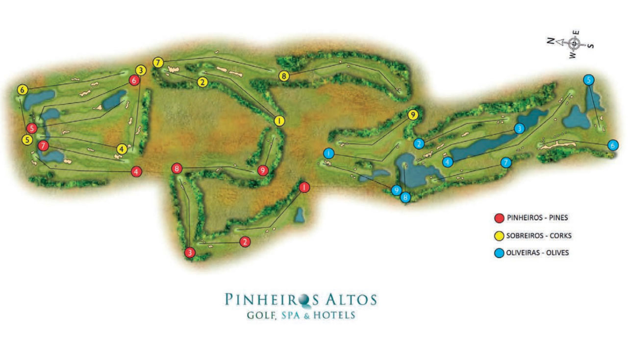 Pinheiros Altos Golf Course Green Fees And Tee Times Algarve - Portugal golf map